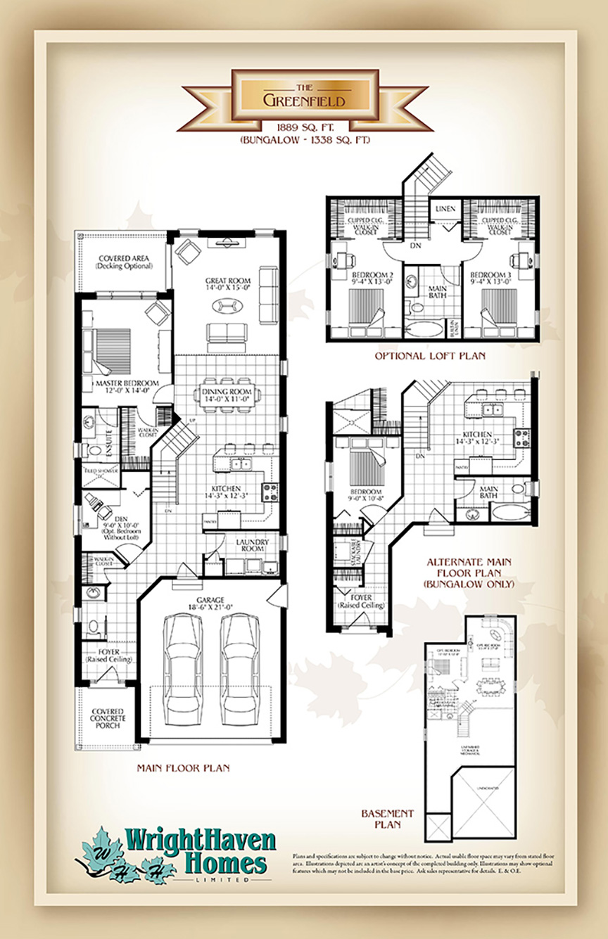 The Greenfield floor plans